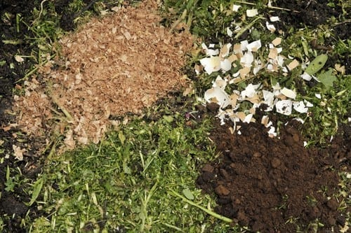 making compost with green, brown and coffee grounds