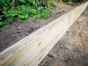 wood edge is backfilled with garden soil and plants
