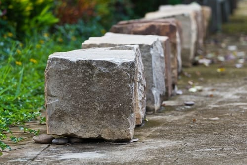 similar size square cut stones lined up