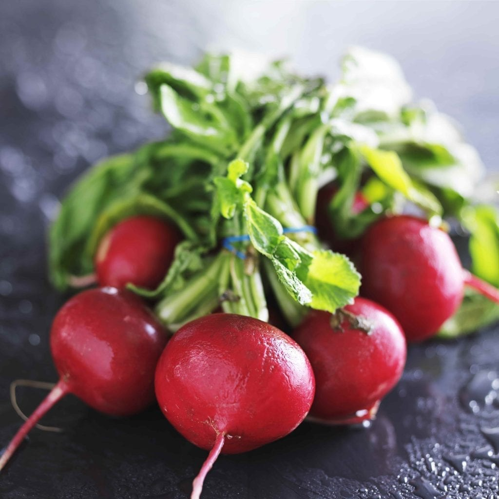 a bunch of red radishes with their green tops on a dark background