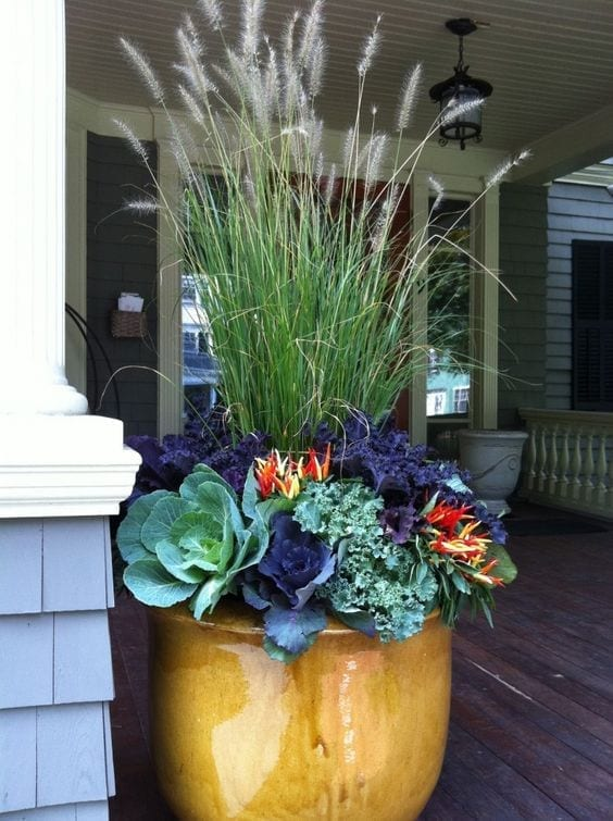 gold ceramic pot with fall plants and grasses