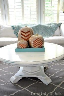3 geometric pumpkins on table