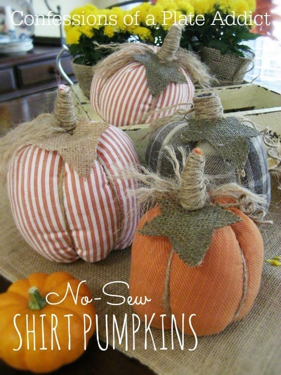 Four pumpkins that were made with shirts - no sewing required