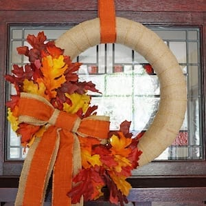 decor burlap wreath with fall colors
