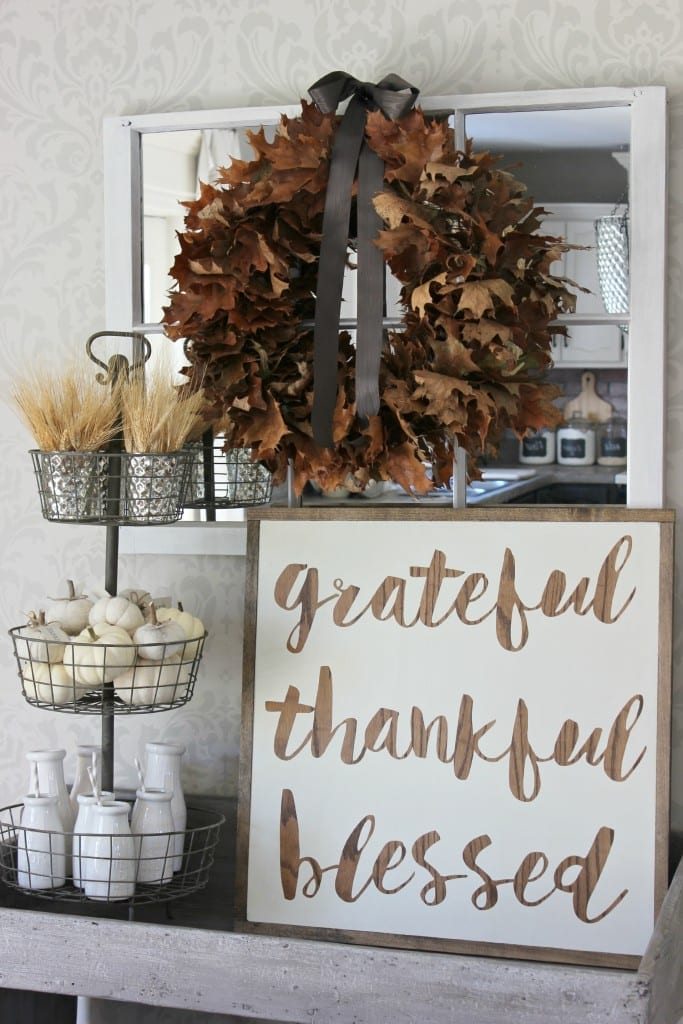 grateful thankful blessed sign with leaf wreath