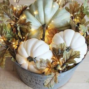 Fall decor lighted fall pumpkin basket