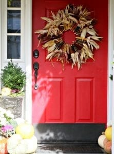 corn wreath for red front door