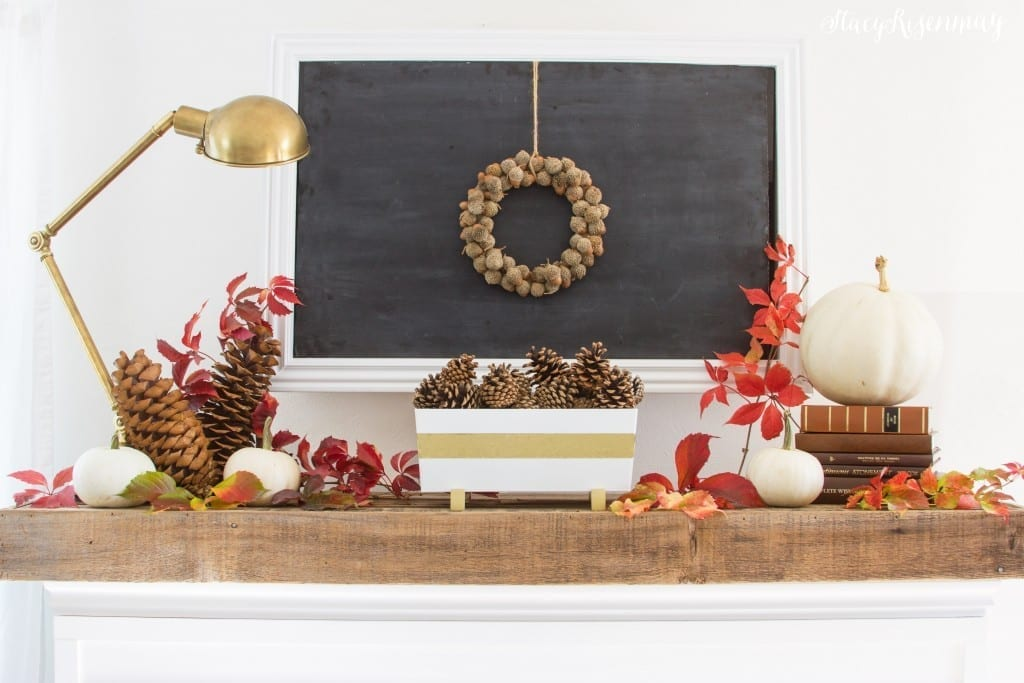styled fall mantel with chalkboard, gourds and wreath