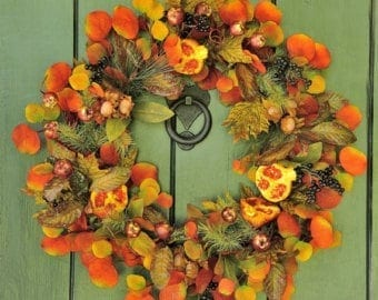 fall decor with leaf wreath