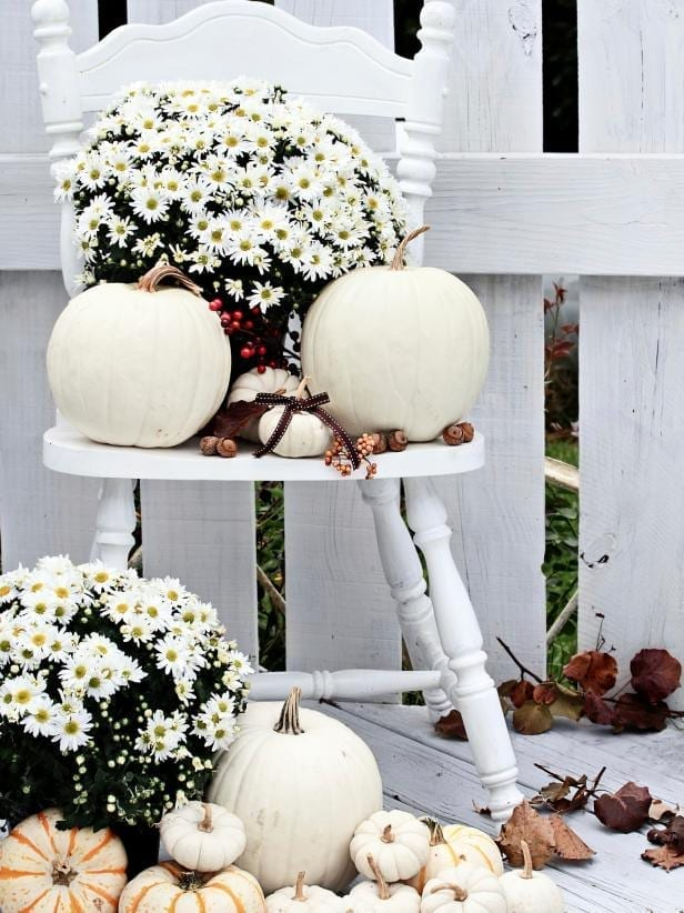 white chair, white flowers, white pumpkins by white fence