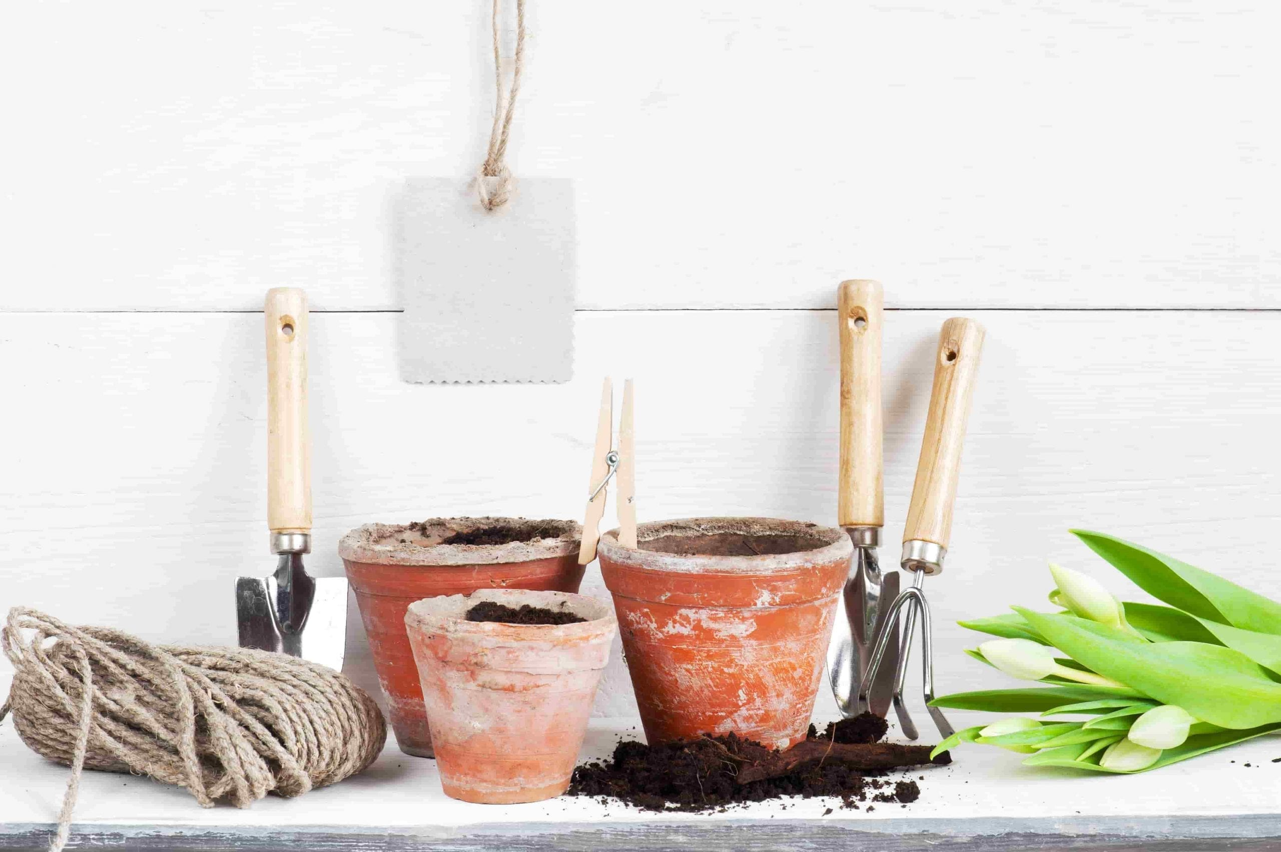 garden gifts pots, tools, tulips, string, note