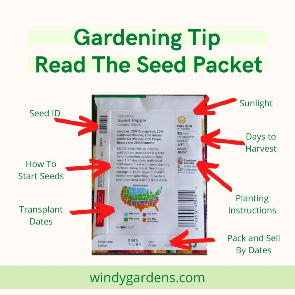 seed packet with growing information