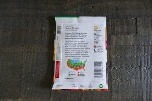 Seed packet for sweet peppers shows planting information and map