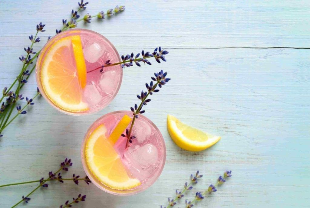 garden herb lavender in lemonade