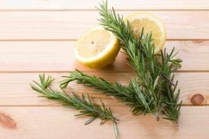 rosemary and lemon on a board