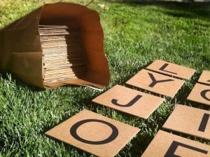 yard scrabble with brown tiles on green grass