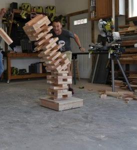 DIY giant jenga wood game toppling over