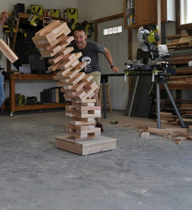 DIY giant jenga wood game toppling over