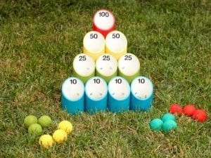 DIY pipe ball game with colorful tubes and balls for back yard