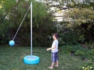 tetherball on turquoise base for backyard games